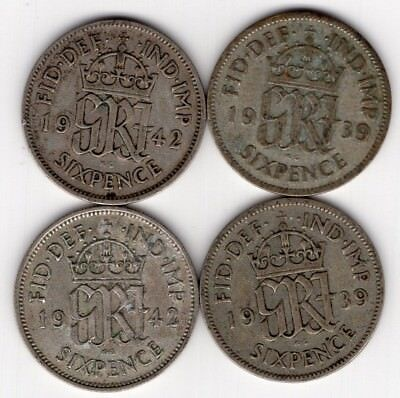 Lot Of 4 Great Britain Six 6 Pence George Vi Silver Coins