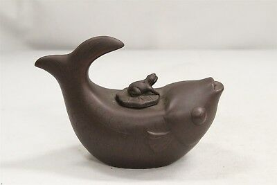 Chinese Yixing Jumping Frog Fish Tummy Lilly Pad Pottery Teapot Signed