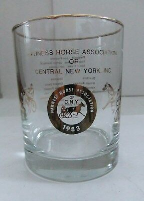 Vintage 1983 Harness Horse Association Glass Ny Racing Central New York