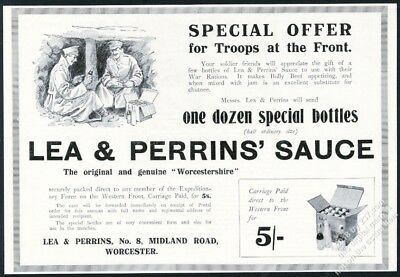 1915 Worcestershire sauce Lea & Perrins WWI trench troops art vintage print ad