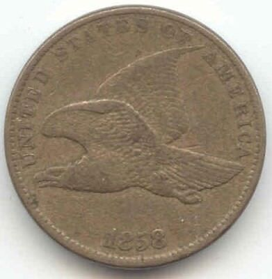 1858 Flying Eagle Cent, Sharp VF-XF, No Problems, True Auction, No Reserve