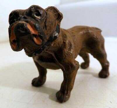 """Antique Cast Metal 3"""" Long English Bull Dog Orig Paint Marked Germany c1910s"""