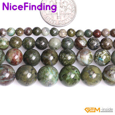 """A Grade Natural Green Cuprite Jasper Loose Stone Beads For Jewelry Making 15"""" NF"""