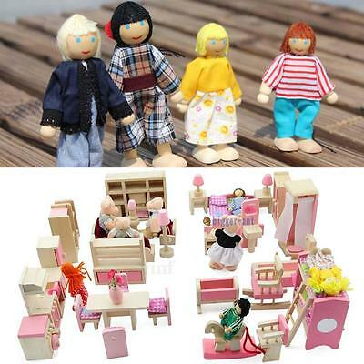 Wooden Furniture Dolls House Family Miniature 6 Room Set Dolls For Kids Child PW