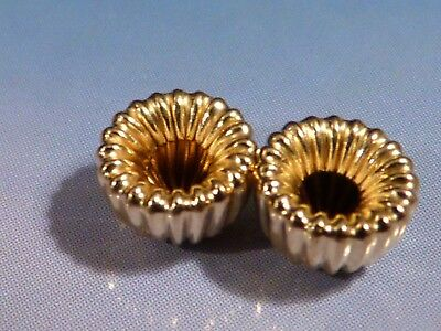 2 CUSTOM 14 KARAT 1/2 ROUND RIBBED GOLD BEADS 6.5 BY 4 MM from the pumtekman