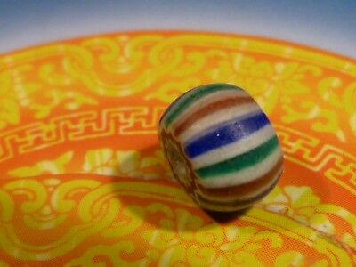 Antique Chevron African World Trade Bead 9.5 By 6.5 Mm Layer Early