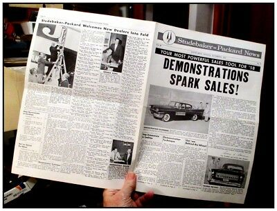 1958 Studebaker News dealer newspaper 4 page new dealers. A very rare issue
