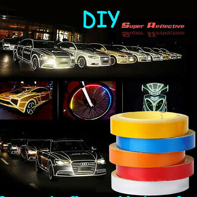 Motorbike Car Reflective Rim Tape Wheel Sticker Trim Motorcycle Luminous 1PC 5m