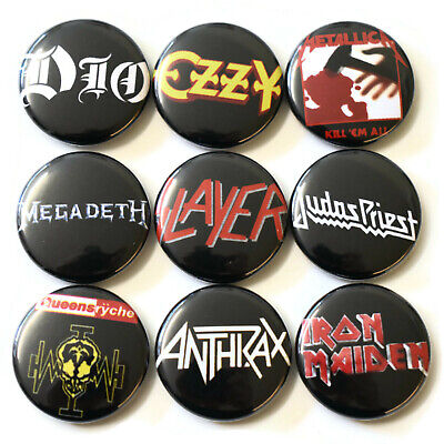 1980s Heavy Metal Bands Badges Buttons Pin Set Lot x 9 One Inch 25mm Music Rock