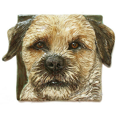 Border Terrier Dog Tile Ceramic portrait handmade sculpture Alexander Art USA