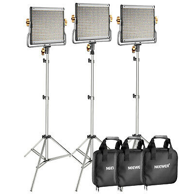 Neewer 3-Pack Dimmable Bi-color 480 LED Video Light with Light Stand Kit