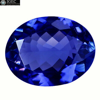 5.09Ct IGEC Certified VS Exclusive Oval Cut 14 x 11 mm Natural Tanzanite
