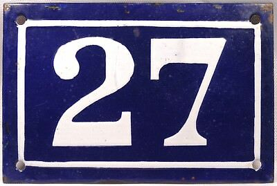 Old blue French house number 27 door gate plate plaque enamel metal sign c1950