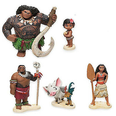 6pcs Moana Action Figure Doll Figurines Toy Cake Topper Decorated Birthday Gift