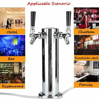 Double Faucets Draft Beer Tower Kegerator Stainless Steel Dual Chrome 2 Tap