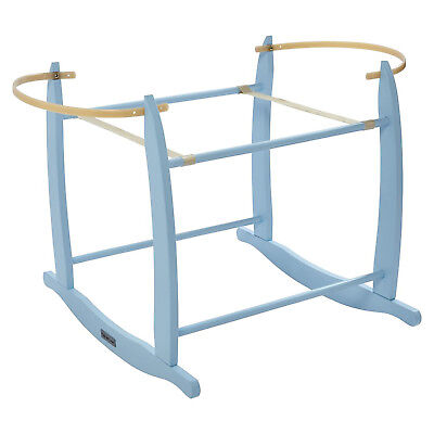 New Clair De Lune Blue Wooden Deluxe Rocking Stand To Fit Baby Moses Baskets