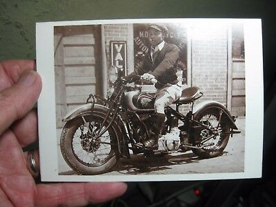 EARLY Indian Motorcycle Greeting Card w/ African American smoking a Cigar