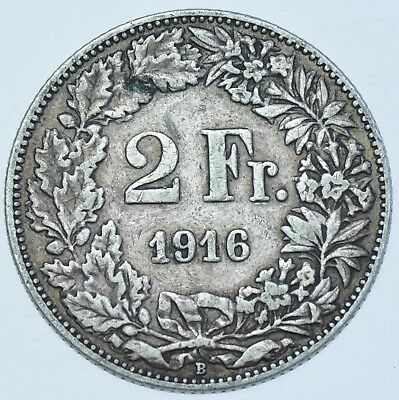 Switzerland Confederation, 2 Francs, 1916, Bern Mint Silver Coin Vf