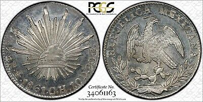 1861 Mexico Silver 2 Reales  PCGS MS65
