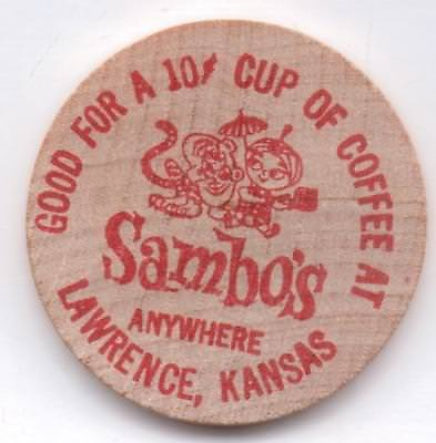 Sambo's--Lawrence,kansas-Wooden Nickel-One 1/2 Inches Width-Vintage