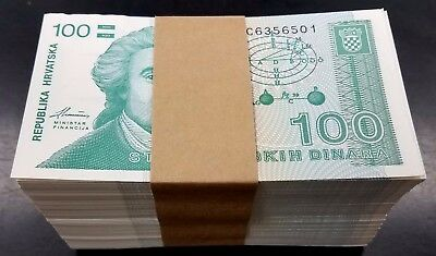 Croatia, 1991 100 Dinara paper note, KM:20a, 500 pc pack! Consecutive Serial #'s