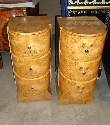Pair Burl Maple Art Deco Large commodes bed side tables