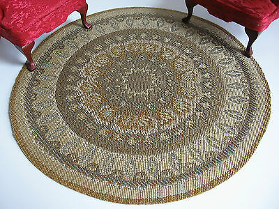dollhouse doll house miniature FANCY ACCENT RUG CARPET ROUND #4
