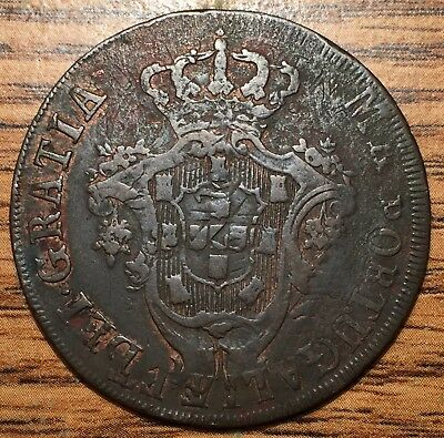 1795 Overstruck Portugal Azores 20 Reis Coin Extremely Fine Condition