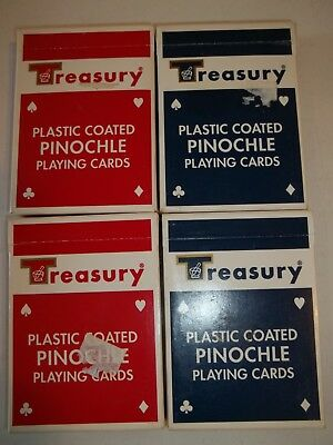4 Packs Of Used Vintage Treasury Drugs Pinochle Playing Cards Red&blue