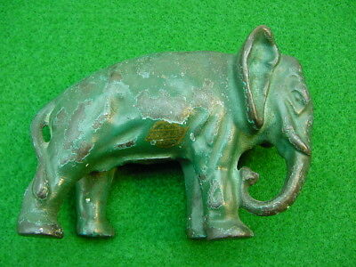 "Antique Arcade Cast Iron Elephant Bank, 3"" Tall, W/decal, Tucked Trunk, L@@k"