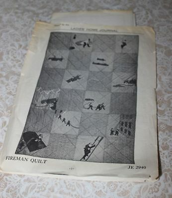 Antique  1930's ? FIIREMAN Quilt Pattern Ladies Home Journal 44.5x66.5""