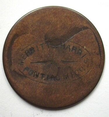 "(No Date) Copper Coin With ""merritt & Harris Pontiac, Mich"" Counter Struck"
