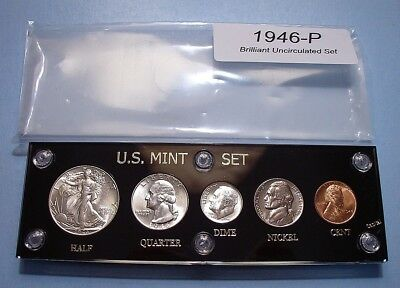 1946 MINT SILVER SET of U.S. COINS LUSTROUS CHOICE - GEM BRILLIANT UNCIRCULATED