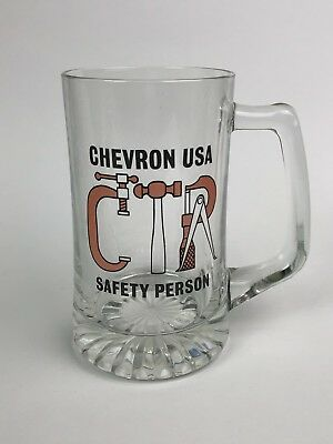 Vintage Chevron USA SAFTY PERSON Gasoline Gas Glass Beer Drinking Mug