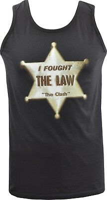 Mens Black Vest Tank The Clash Original British Punk Sheriff Badge Star S-5Xl