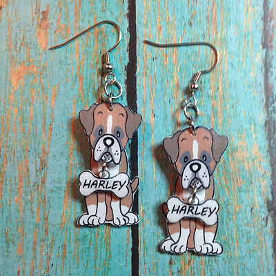 Handcrafted Plastic 3D Boxer Dog Earrings with FREE Personalization