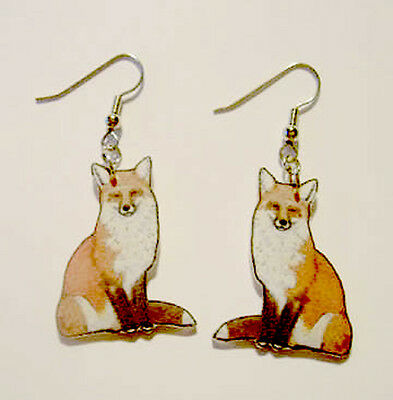 Red Fox Foxes Foxy Earrings Handcrafted Plastic Made in USA