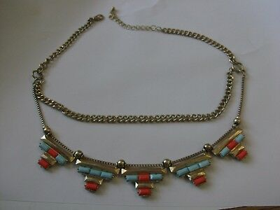 Vintage Red & Blue Glass Beads w Gold Tone Double Chain Necklace - Egyptian Look