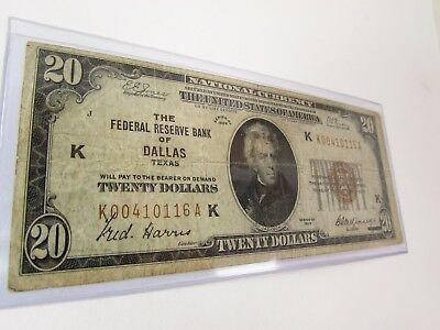 1929 National Currency $20.00 Bank Note Dallas Texas Brown Seal Usa
