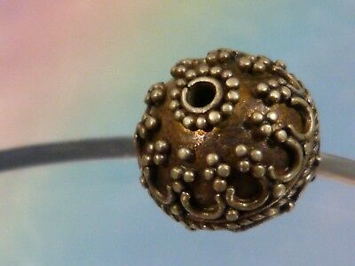 ANTIQUE  SILVER BEAD TOP SILVERSMITHING GRANULATION 11.1 MM WIDE - pumtekman