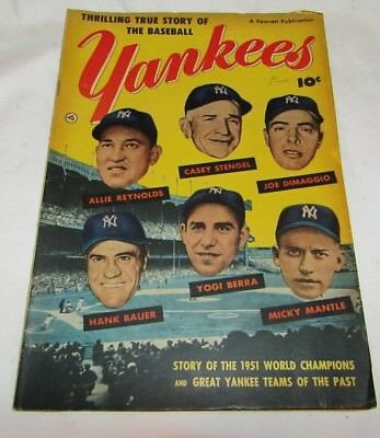 Rare Thrilling True Story of the Baseball Yankees Comic Book by Fawcett 1952