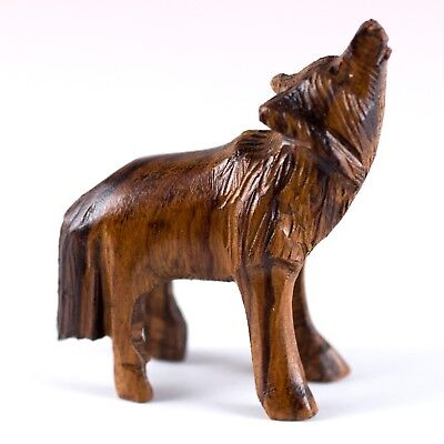"Hand Carved Wood Wooden Ironwood Small Standing Wolf Howling Figurine 2"" High"
