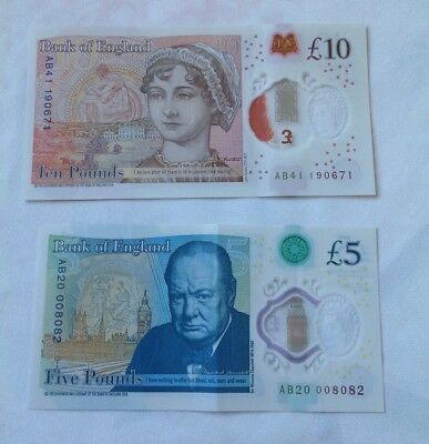British pounds, English pounds, 5 and 10 pound notes. AB prefix. UK currency