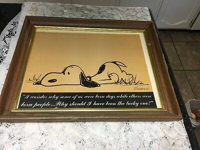 Framed Snoopy Print Signed Schulz