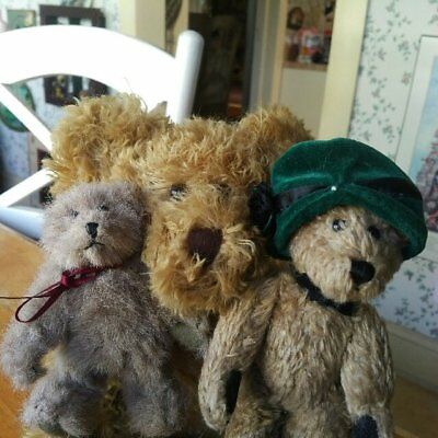 Lot of 3 Boyds Teddy Bears, one Mohair and two Boyds Collections VGC 13/7/5 inch