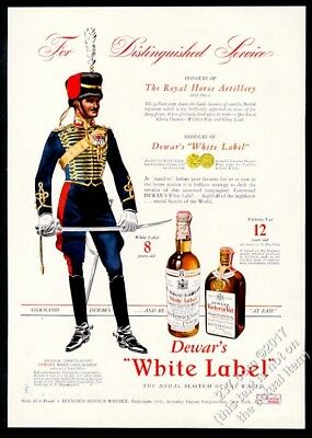 1941 Royal Horse Artillery soldier art Dewar's Scotch whisky vintage print ad