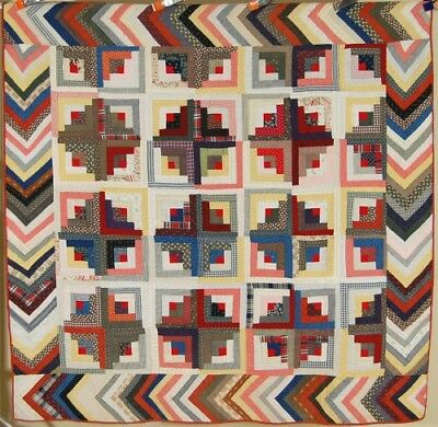 Vintage 1880's Sunshine & Shadow Log Cabin Antique Quilt ~AMAZING BORDER!