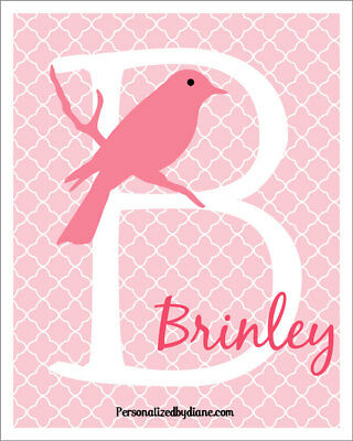 Personalized Pink Bird Initial Name 8x10 Art Print