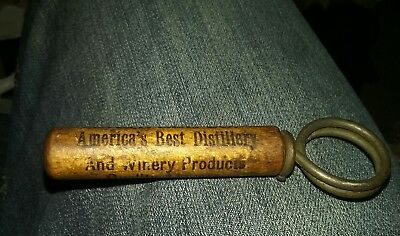 Vintage wood handle corkscrew Americas best Distillery Sidney OHIO