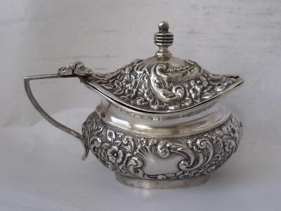 Antique Victorian Embossed Solid Sterling Silver Mustard Pot 1899/ L 8.6 cm